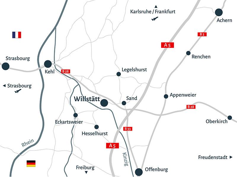 Karte rund um Willstätt mit Verkehrsanbindungen