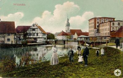 Alte Postkarte von Willstätt mit Kinzig, Mühle, Kirche und Fachwerk