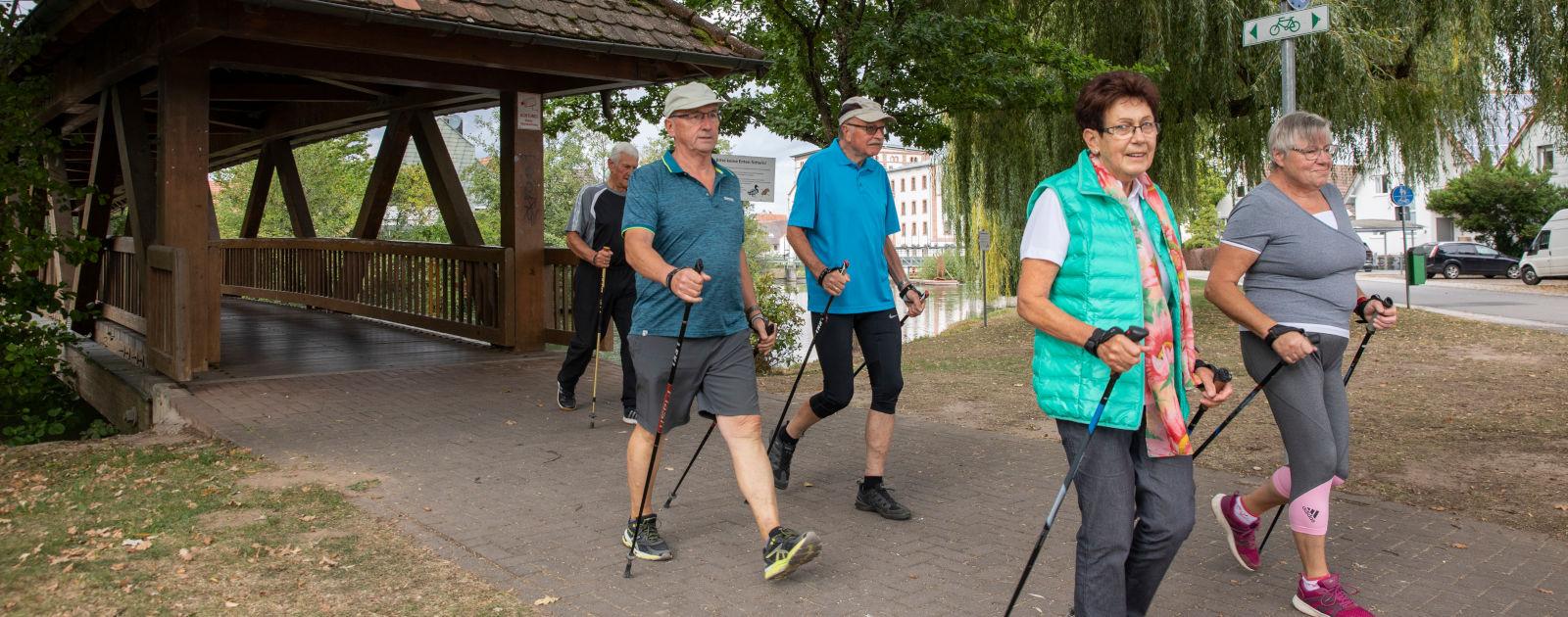 Bewegungstreff Willstätt Nordic-Walking über Brücke