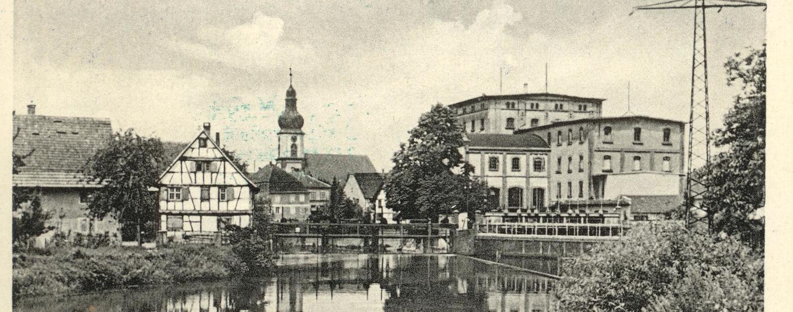 Altes Bild: Kirche und Mühlengebäude in Willstätt